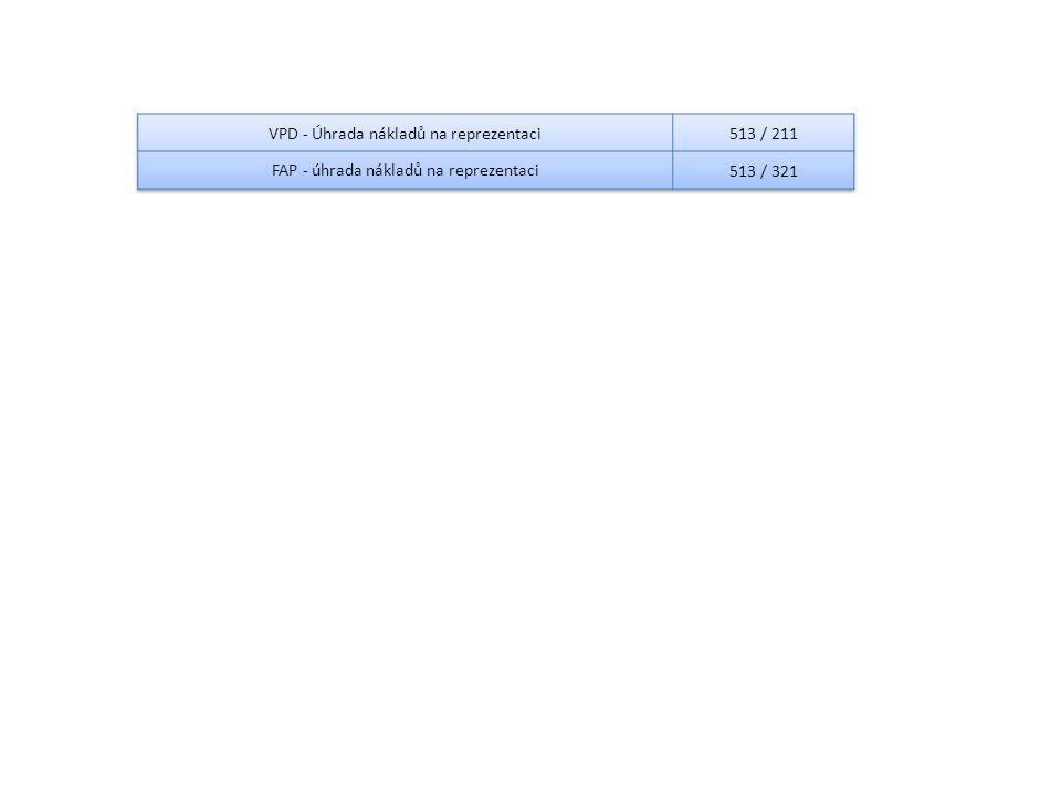 VPD - Úhrada nákladů na reprezentaci 513 / 211