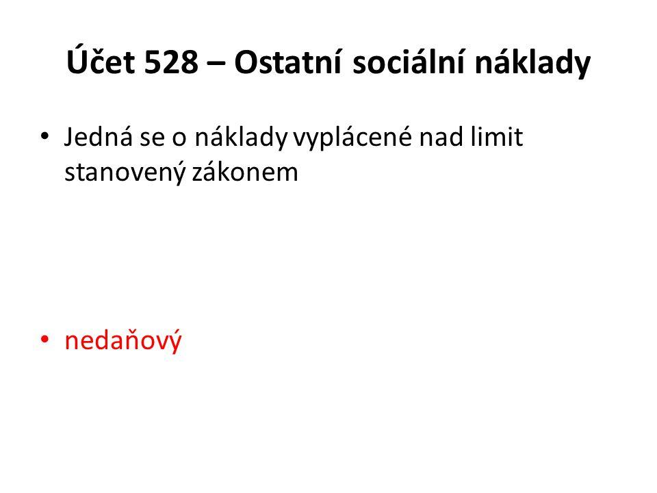 Účet 528 – Ostatní sociální náklady