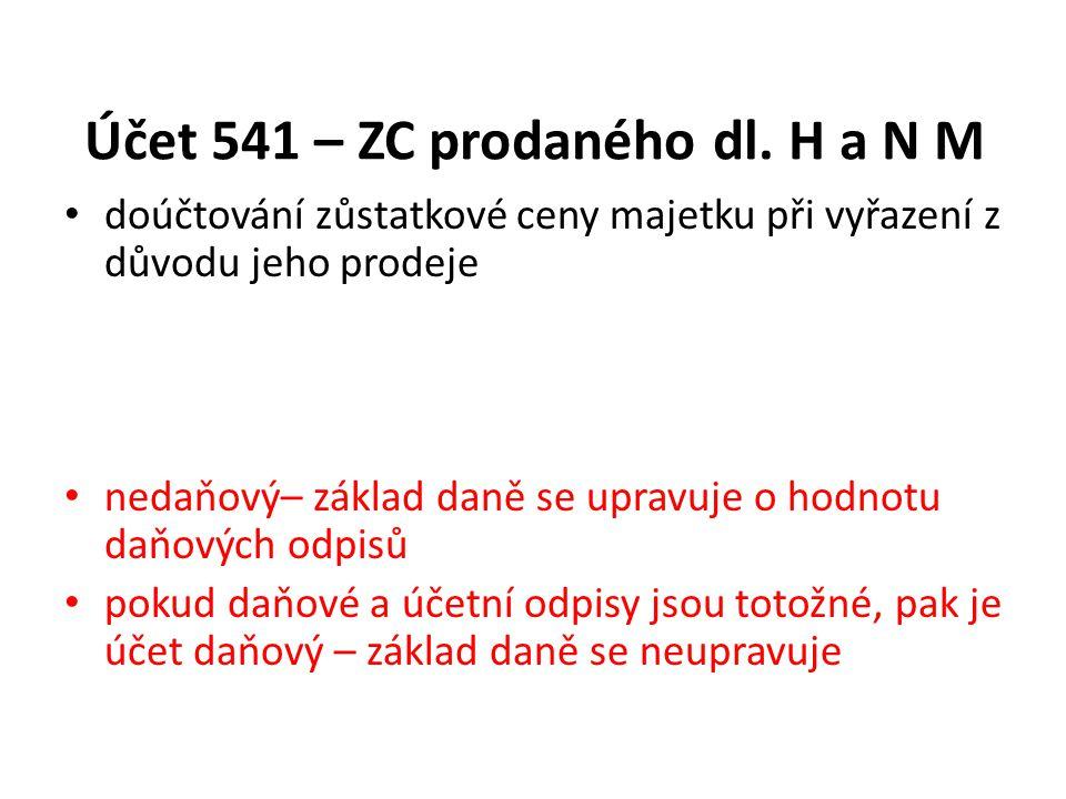 Účet 541 – ZC prodaného dl. H a N M
