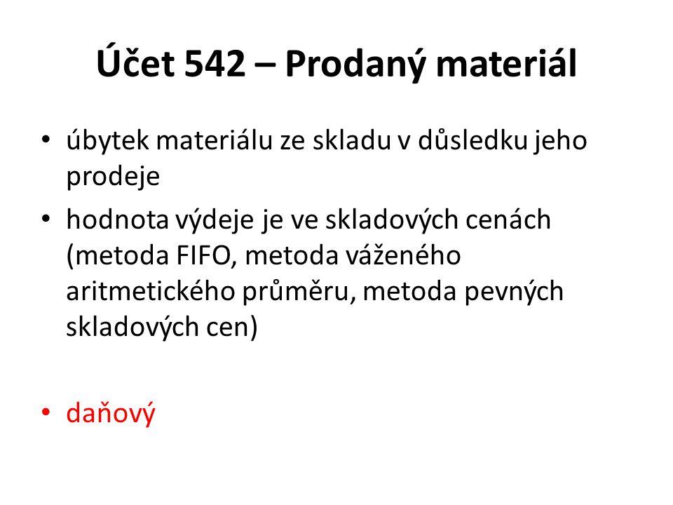 Účet 542 – Prodaný materiál