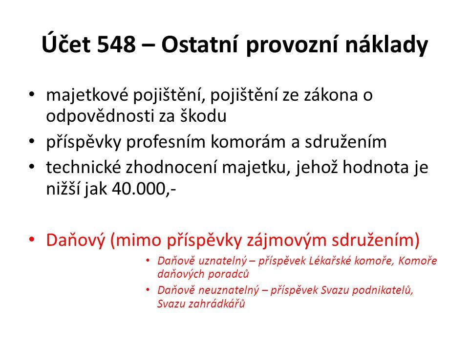 Účet 548 – Ostatní provozní náklady