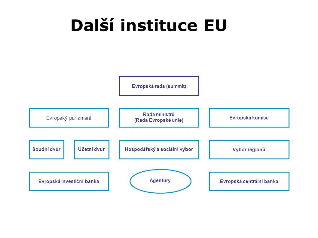 Další instituce EU EU Evropský parlament Evropská rada (summit)