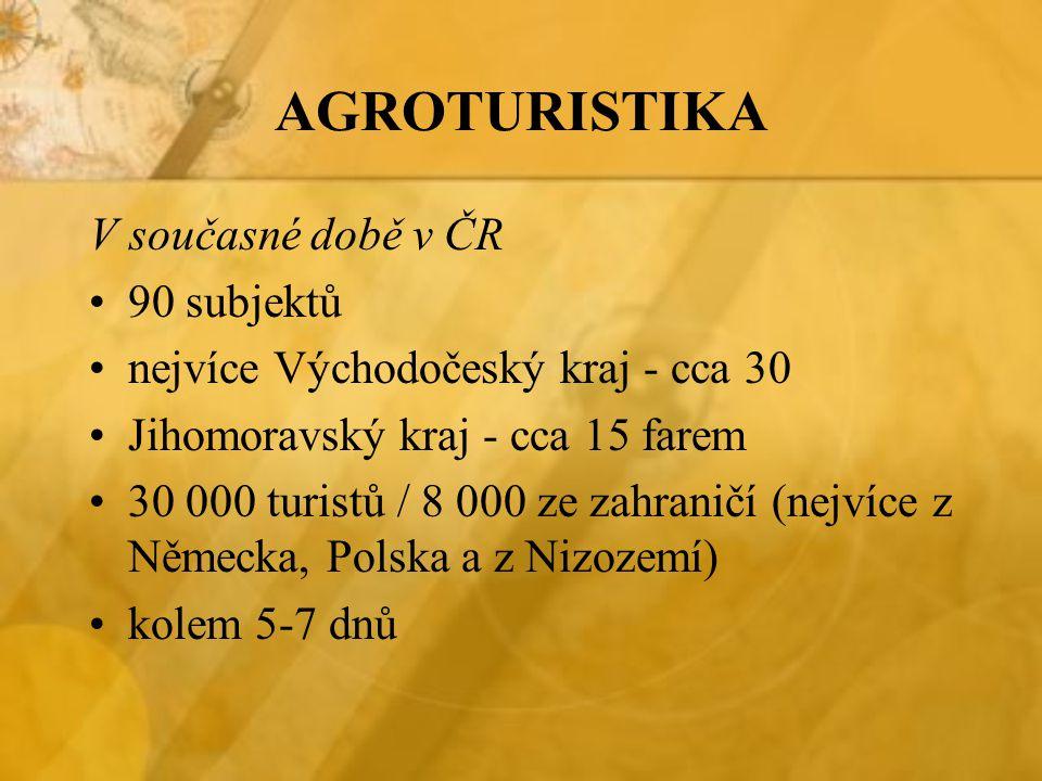 AGROTURISTIKA V současné době v ČR 90 subjektů