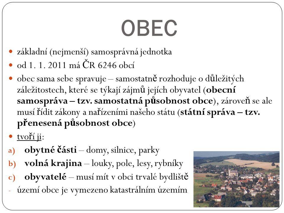 OBEC základní (nejmenší) samosprávná jednotka