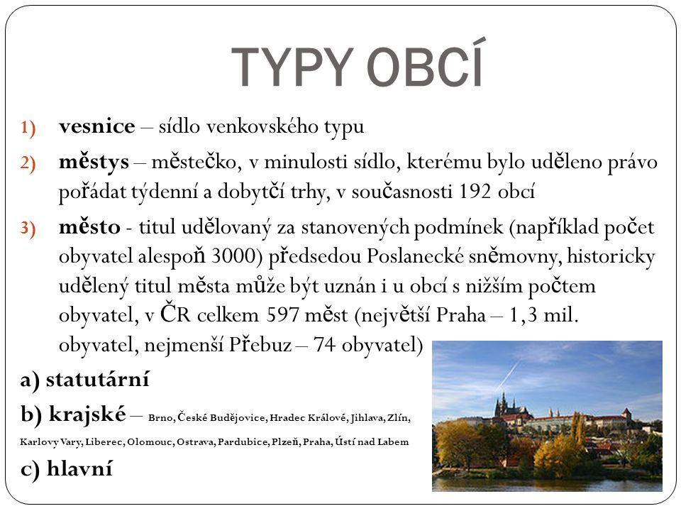 TYPY OBCÍ vesnice – sídlo venkovského typu