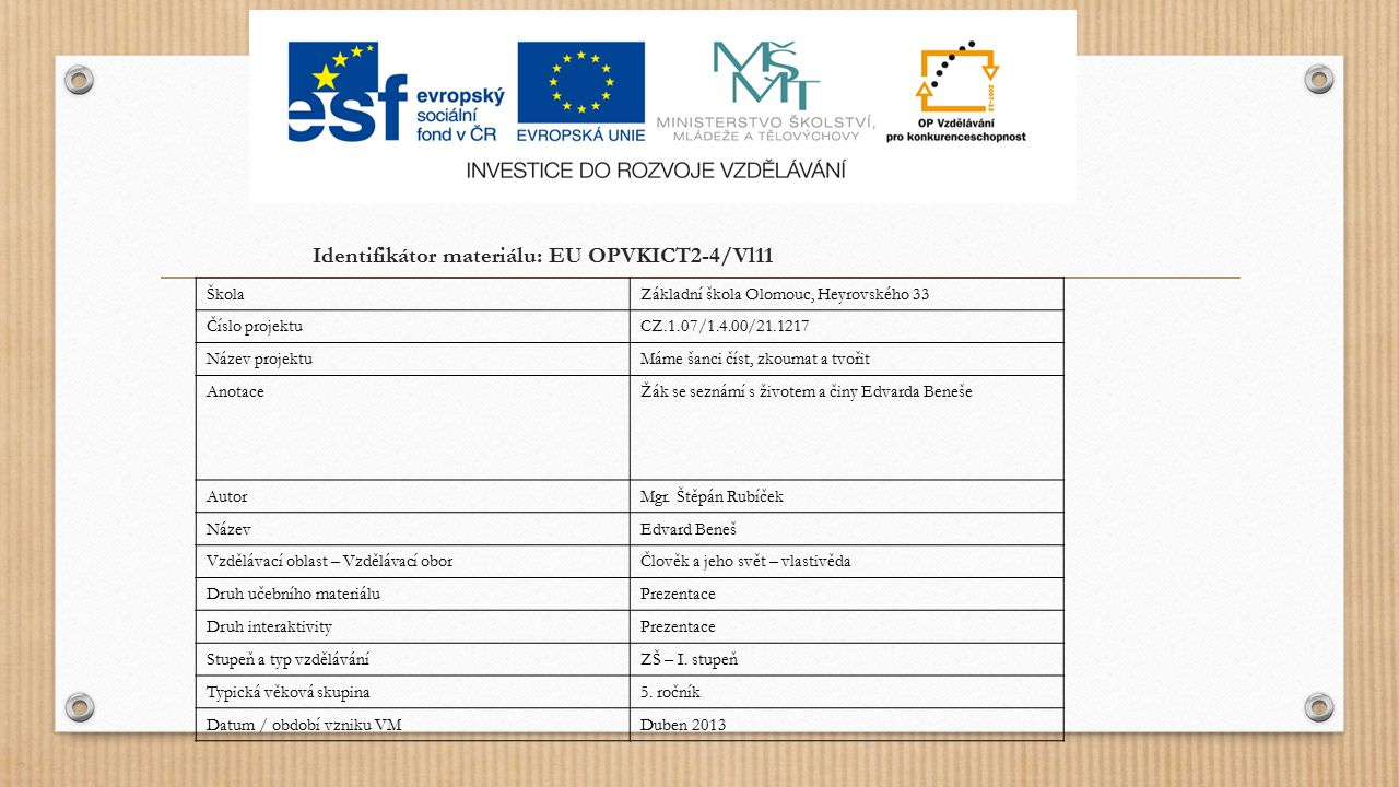 Identifikátor materiálu: EU OPVKICT2-4/Vl11
