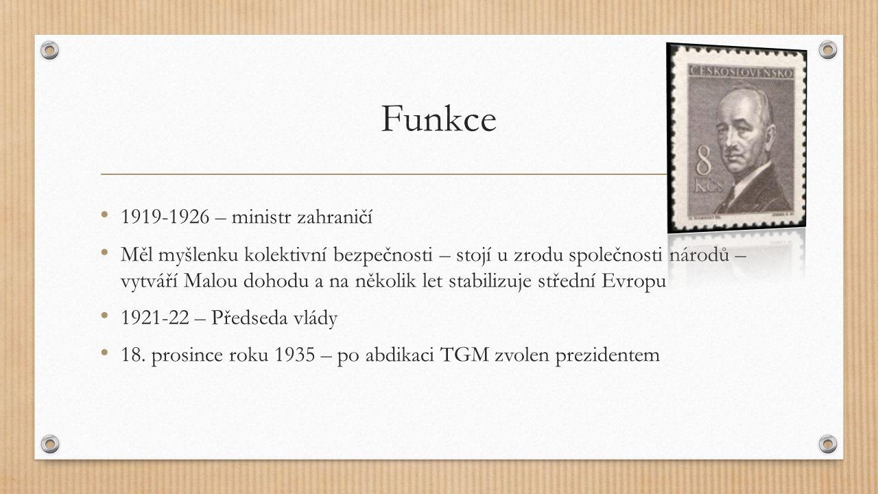 Funkce 1919-1926 – ministr zahraničí