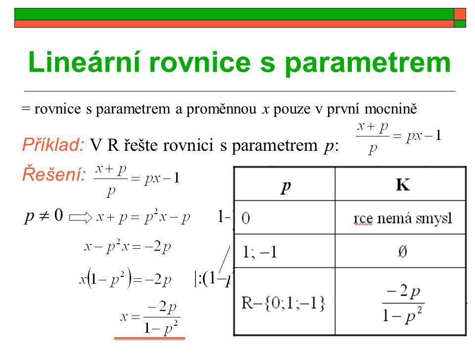Lineární rovnice s parametrem