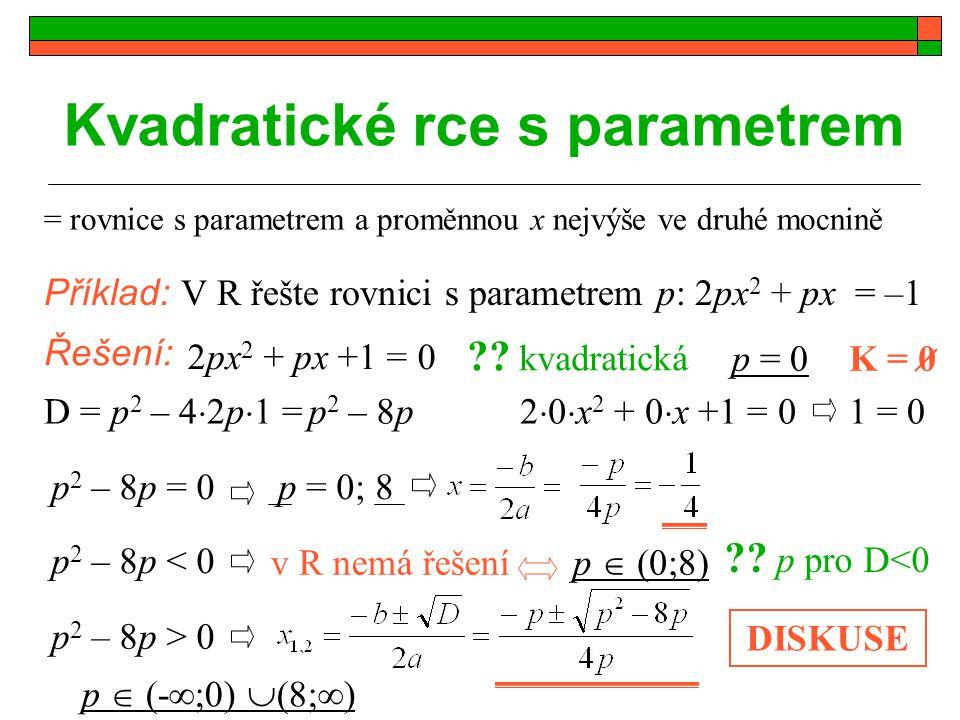 Kvadratické rce s parametrem