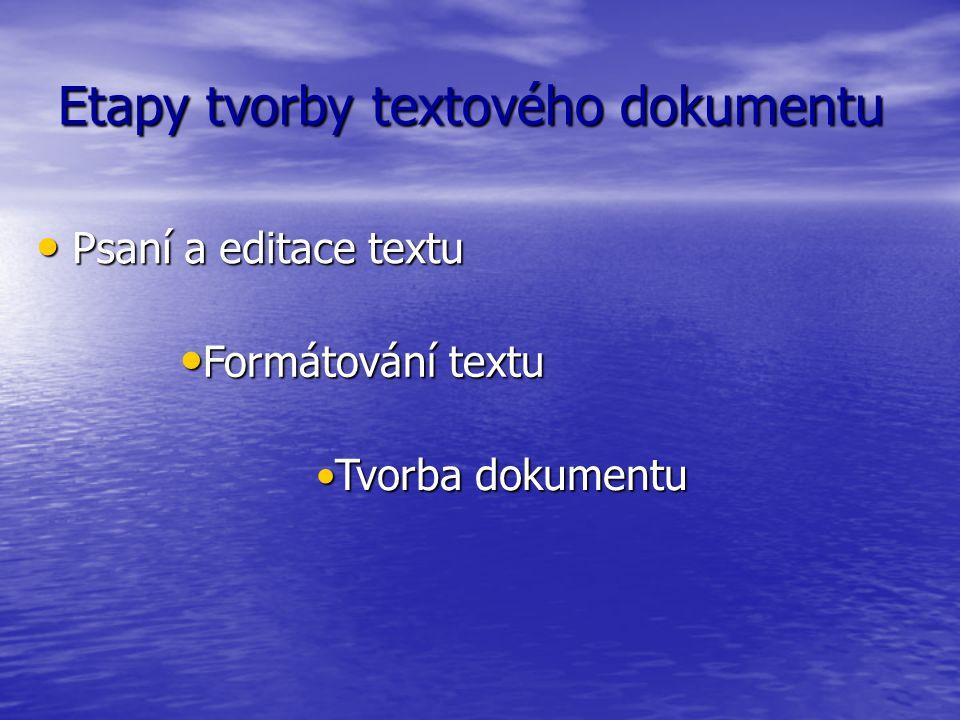 Etapy tvorby textového dokumentu