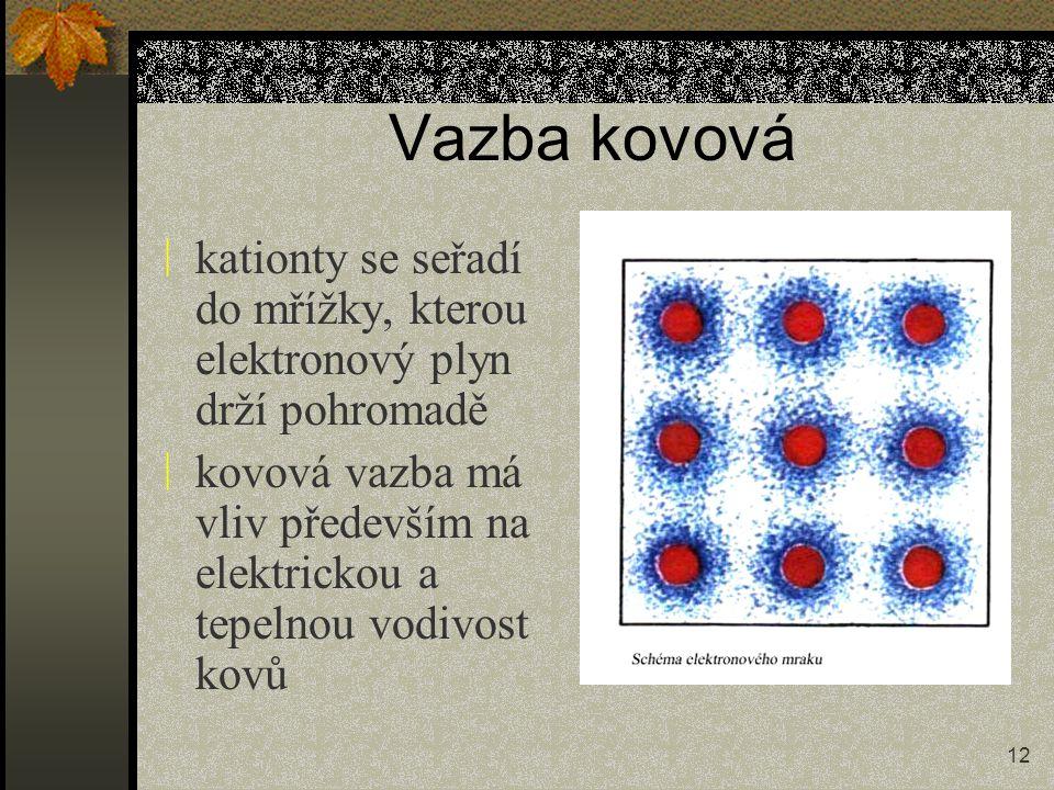 Vazba kovová kationty se seřadí do mřížky, kterou elektronový plyn drží pohromadě.