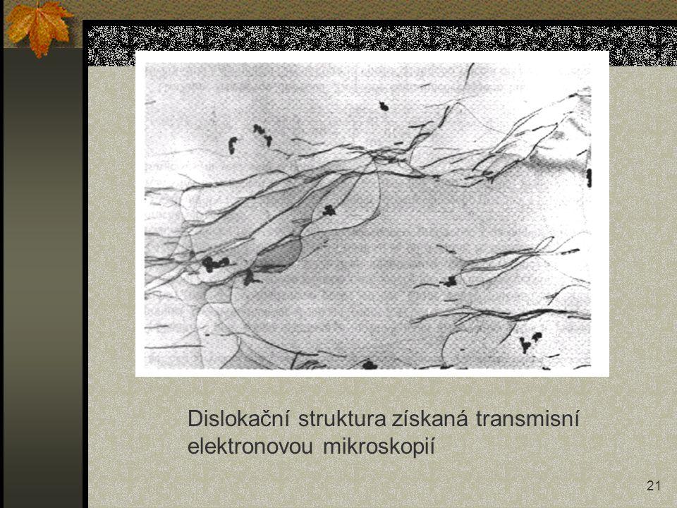 Dislokační struktura získaná transmisní elektronovou mikroskopií