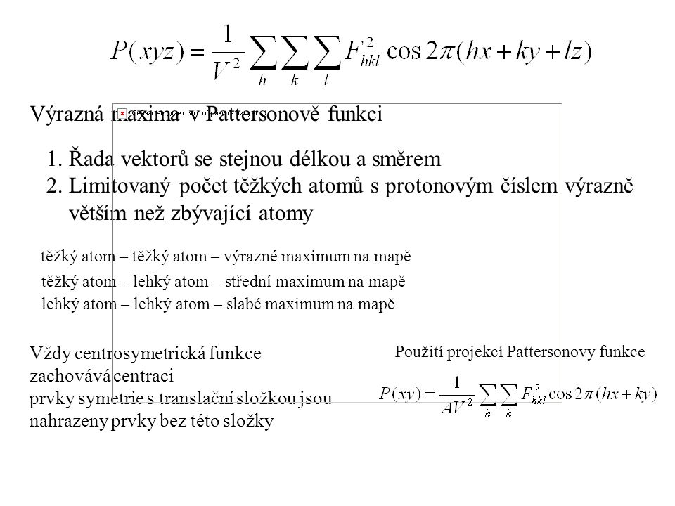 Výrazná maxima v Pattersonově funkci