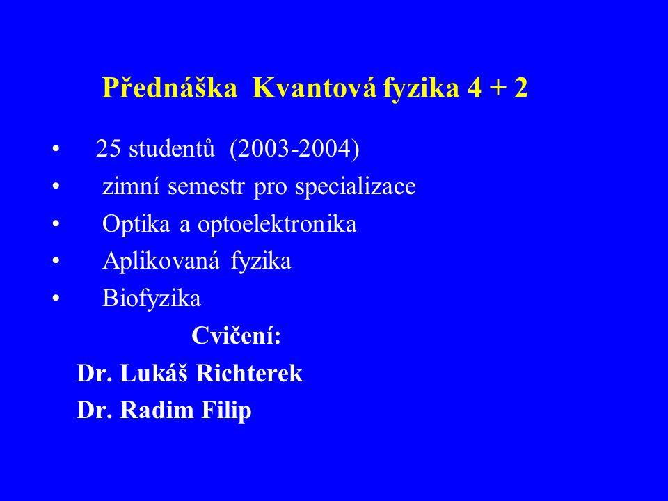 Přednáška Kvantová fyzika 4 + 2