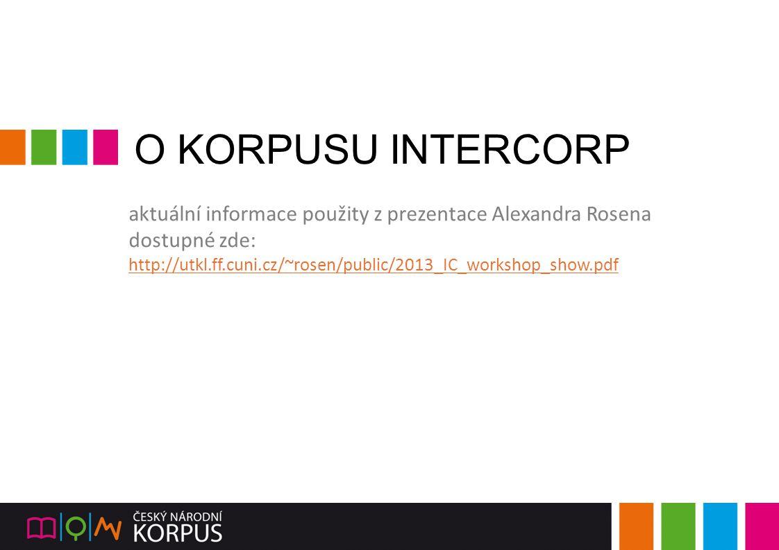 O KORPUSU INTERCORP aktuální informace použity z prezentace Alexandra Rosena.