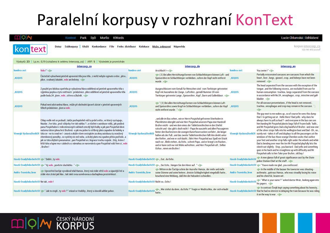 Paralelní korpusy v rozhraní KonText