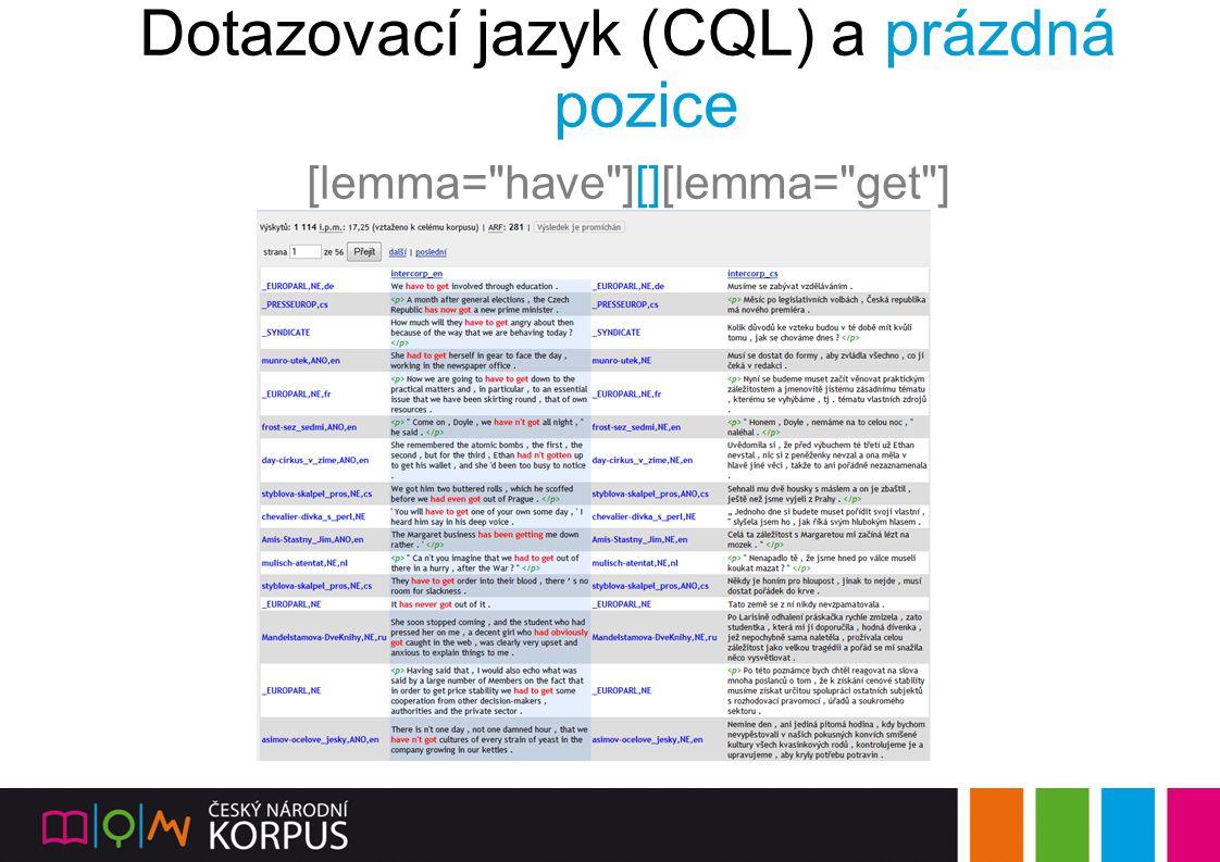 Dotazovací jazyk (CQL) a prázdná pozice