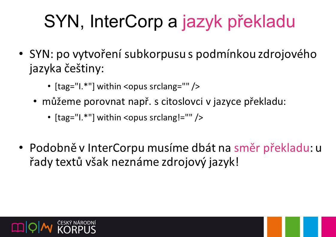 SYN, InterCorp a jazyk překladu