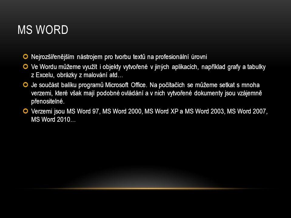 MS Word Nejrozšířenějším nástrojem pro tvorbu textů na profesionální úrovni.