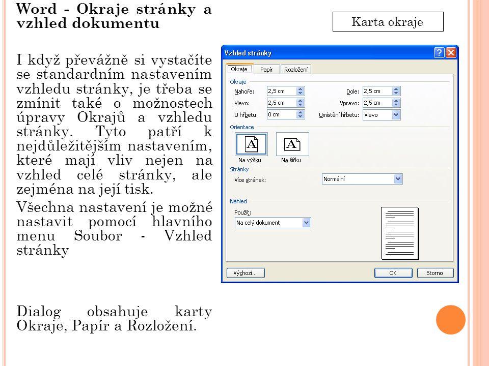 Word - Okraje stránky a vzhled dokumentu