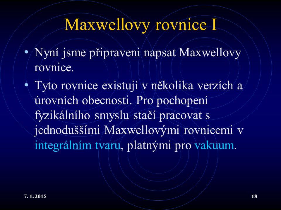 Maxwellovy rovnice I Nyní jsme připraveni napsat Maxwellovy rovnice.