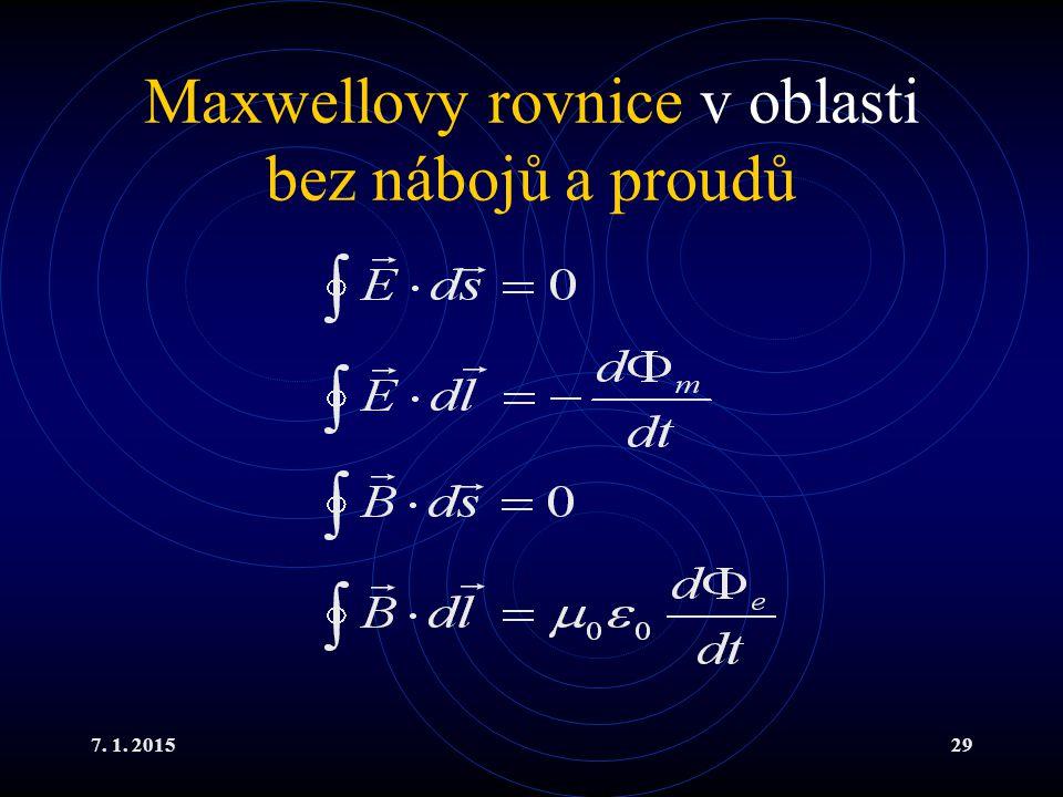 Maxwellovy rovnice v oblasti bez nábojů a proudů