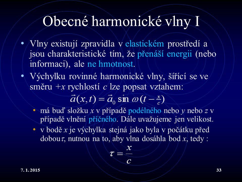 Obecné harmonické vlny I