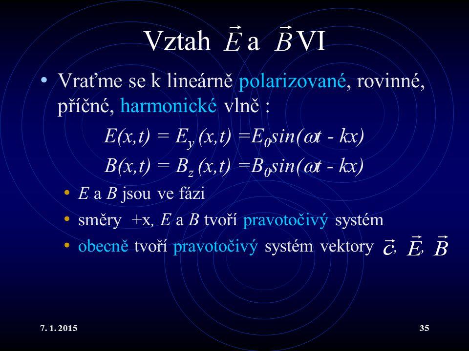 Vztah a VI Vraťme se k lineárně polarizované, rovinné, příčné, harmonické vlně : E(x,t) = Ey (x,t) =E0sin(t - kx)