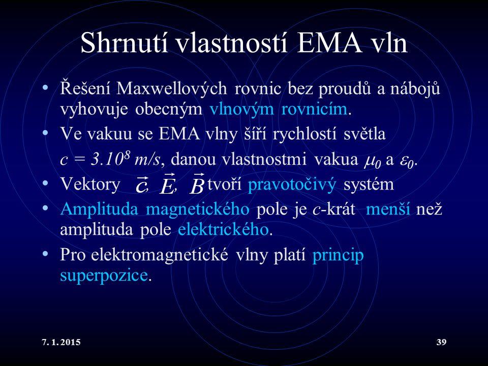 Shrnutí vlastností EMA vln