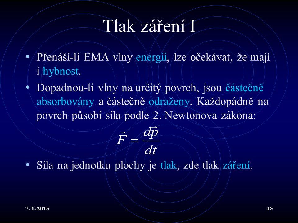 Tlak záření I Přenáší-li EMA vlny energii, lze očekávat, že mají i hybnost.