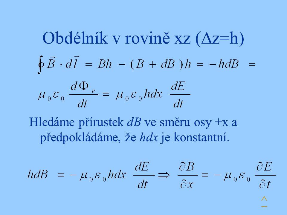 Obdélník v rovině xz (z=h)