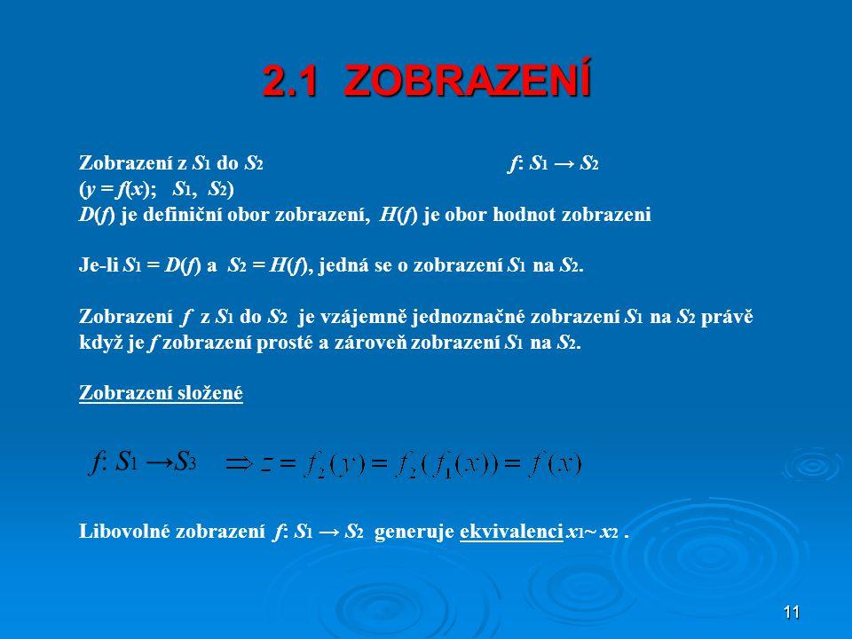 2.1 ZOBRAZENÍ f: S1 →S3 Zobrazení z S1 do S2 f: S1 → S2