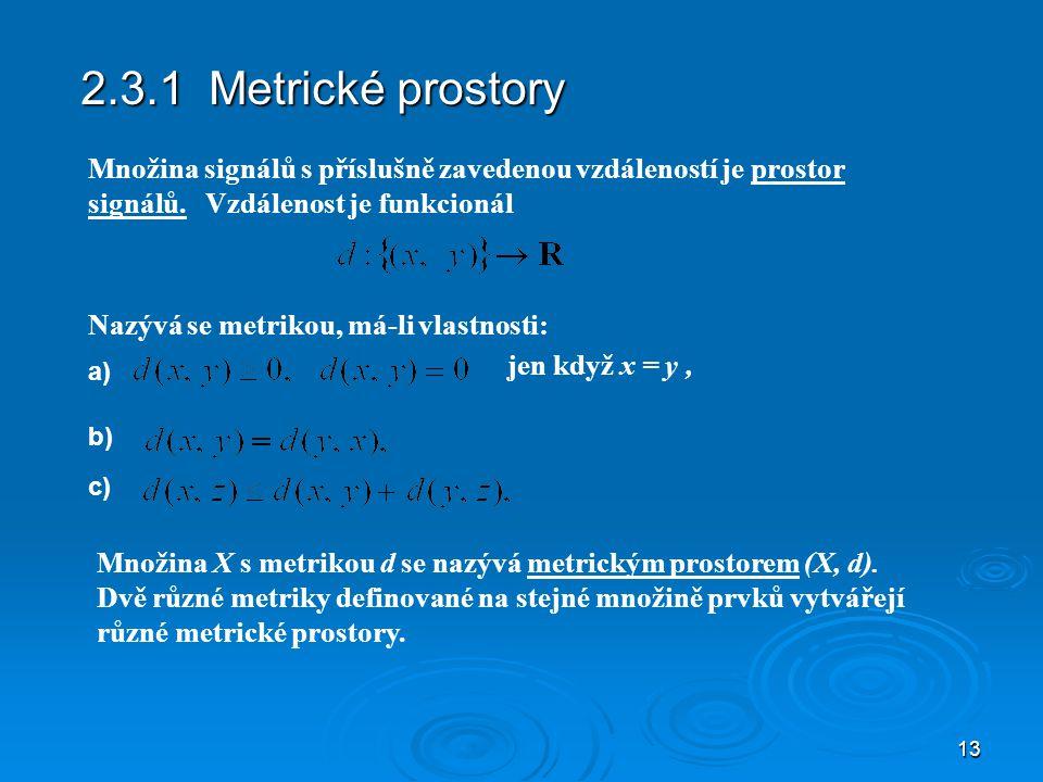 2.3.1 Metrické prostory Množina signálů s příslušně zavedenou vzdáleností je prostor signálů. Vzdálenost je funkcionál.