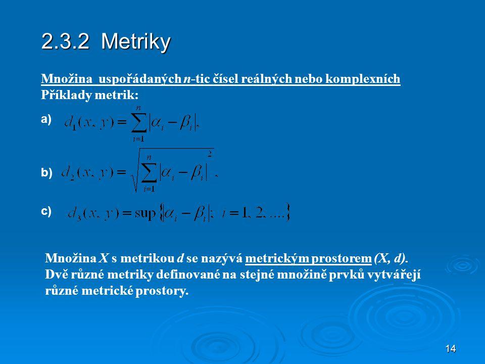 2.3.2 Metriky Množina uspořádaných n-tic čísel reálných nebo komplexních. Příklady metrik: a) b)