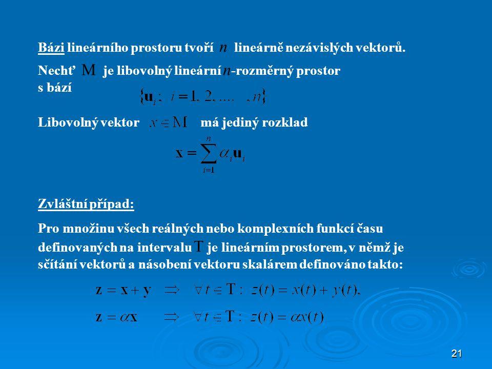 Bázi lineárního prostoru tvoří n lineárně nezávislých vektorů.