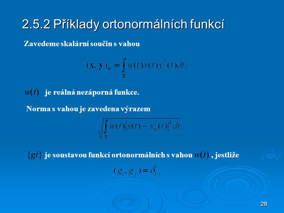 2.5.2 Příklady ortonormálních funkcí