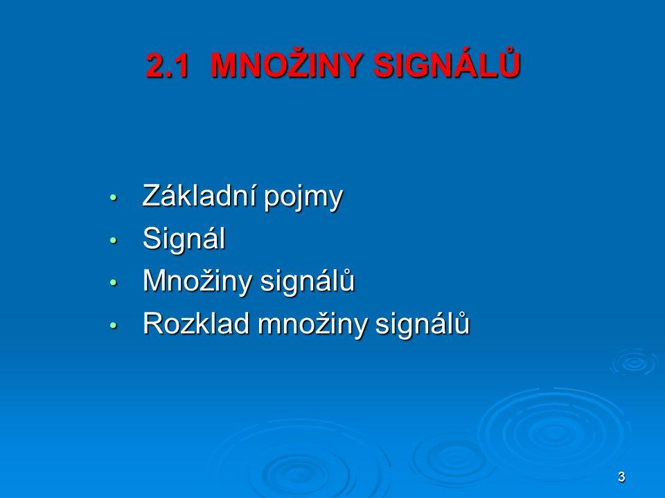 2.1 MNOŽINY SIGNÁLŮ Základní pojmy Signál Množiny signálů
