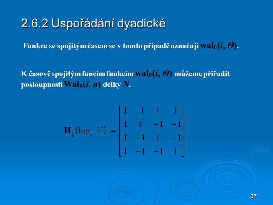 2.6.2 Uspořádání dyadické Funkce se spojitým časem se v tomto případě označují walp(i, Θ).