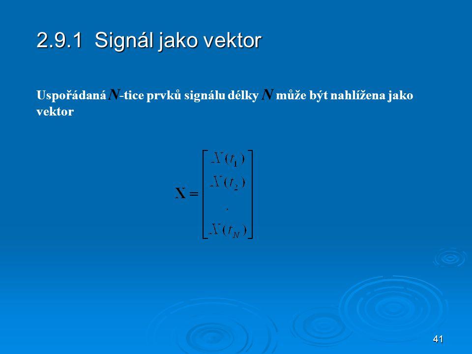 2.9.1 Signál jako vektor Uspořádaná N-tice prvků signálu délky N může být nahlížena jako vektor
