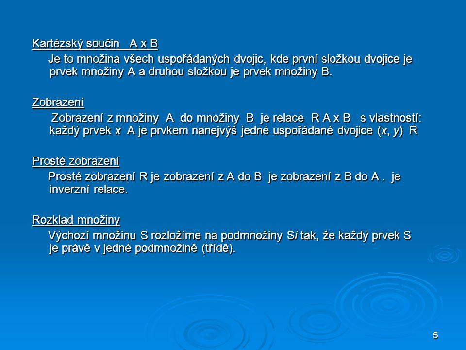 Kartézský součin A x B Je to množina všech uspořádaných dvojic, kde první složkou dvojice je prvek množiny A a druhou složkou je prvek množiny B.