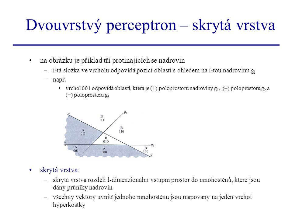 Dvouvrstvý perceptron – skrytá vrstva