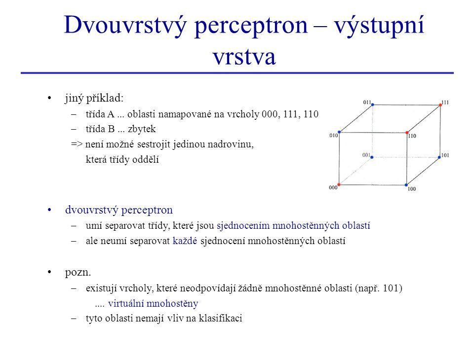 Dvouvrstvý perceptron – výstupní vrstva