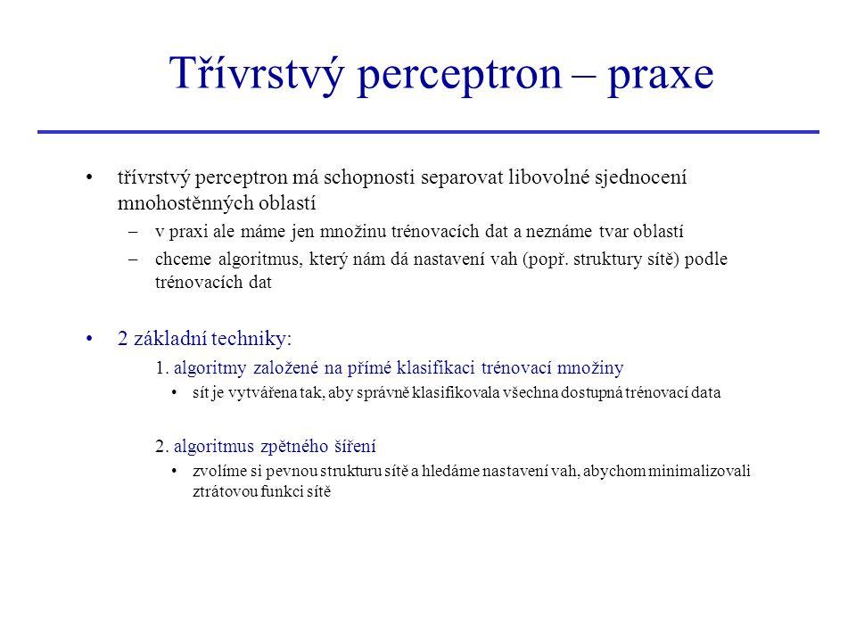 Třívrstvý perceptron – praxe
