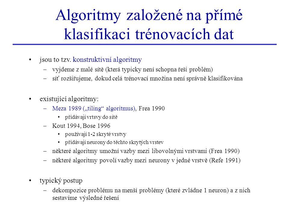 Algoritmy založené na přímé klasifikaci trénovacích dat
