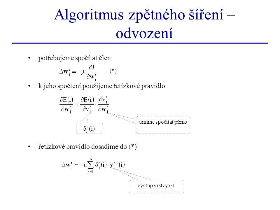 Algoritmus zpětného šíření – odvození