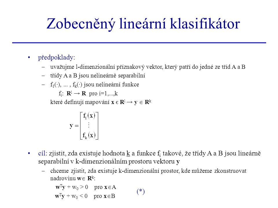 Zobecněný lineární klasifikátor