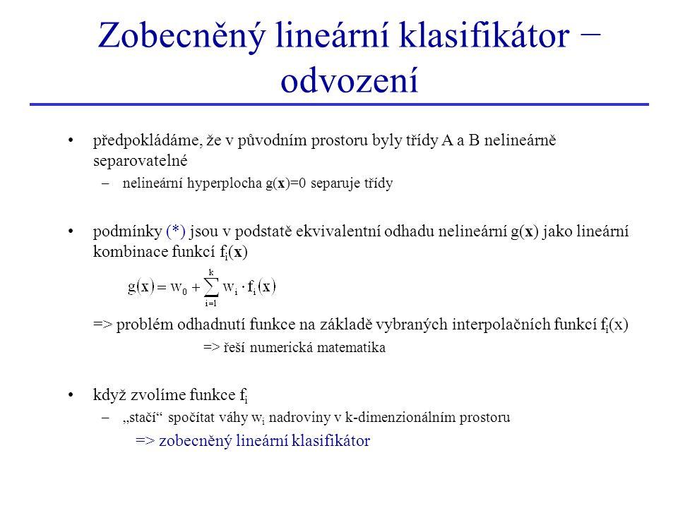 Zobecněný lineární klasifikátor − odvození