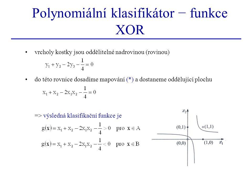 Polynomiální klasifikátor − funkce XOR
