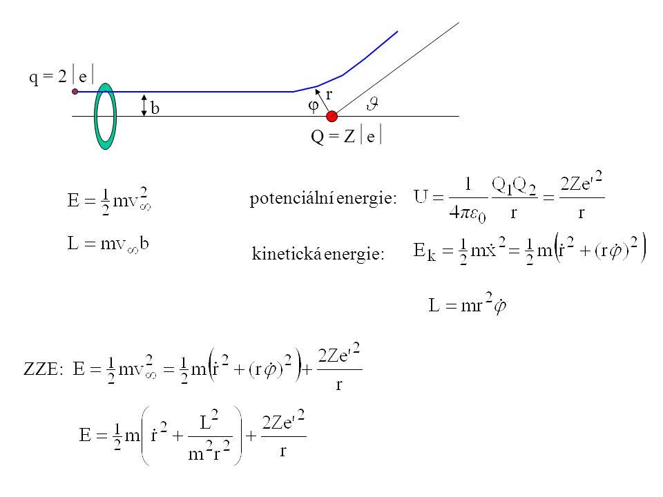 b Q = Ze q = 2e r  potenciální energie: kinetická energie: ZZE: