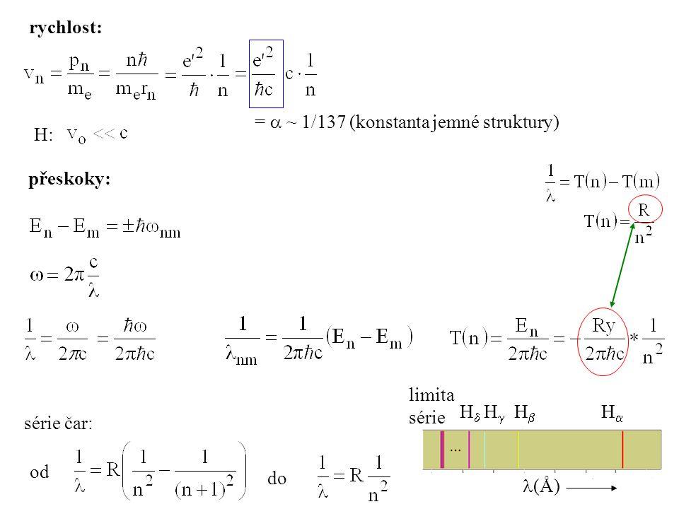 rychlost: =  ~ 1/137 (konstanta jemné struktury) H: přeskoky: H H H H (Å) limita. série.